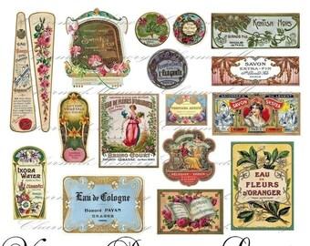 Perfume Label Digital Collage Sheet ON SALE!!! Digital Download / French Vintage Cologne Parfum Ephemera #4 Printable INSTANT Download