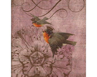Birds with Crowns Digital Collage Sheet ON SALE!!! - Digital Download - Vintage Aged Pink Swallow, Sparrow Iron On Transfer INSTANT Download