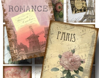 Aged Paris Dream ATC Digital Collage Sheet / SALE!!! / Digital Download / French Ephemera Shabby Vintage / INSTANT Download