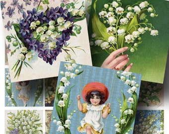 Lily of the Valley Digital Collage Sheet SALE!! Victorian Floral Flower Vintage Postcard Digital Download 2 Inch Square #2 INSTANT Download