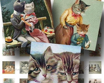 SALE!!! INSTANT Download - Victorian Cats Digital Collage Sheet Printable Images 1 Inch Square (3)  -  - Digital Download