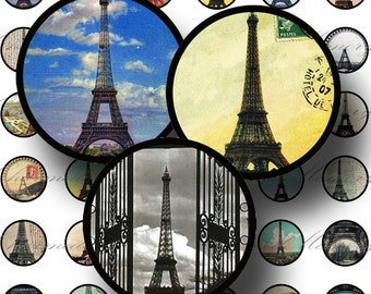 SALE!!!French Eiffel Tower Ephemera (1) - 1 inch round - Digital Collage Sheet -  - Printable INSTANT Download