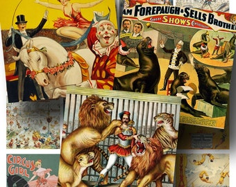 SALE!!!Circus Digital Collage Sheet - Digital Download Vintage Posters Clown, Big Top, Carnival, Trapeeze 2 Inch Square #1 INSTANT Download