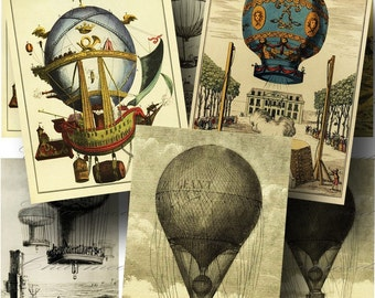 Vintage French Hot Air Balloon Digital Collage Sheet / SALE!!! / Digital Download / Steampunk Flying Poster ATC #3 / INSTANT Download