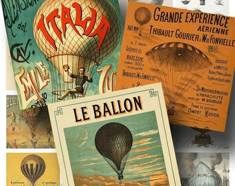 Vintage French Hot Air Balloon Digital Collage Sheet SALE!!! / Digital Download Steampunk Flying Poster 2 Inch Square #1 / INSTANT Download