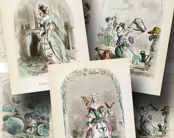 Flower Fairy Les Fleurs Animees Digital Collage Sheet SALE!!! Vintage, French, Floral, 1800s Digital Download ATC Size #3 INSTANT Download
