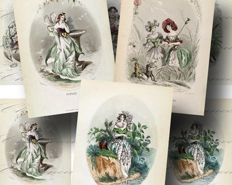 Flower Fairy Les Fleurs Animees Digital Collage Sheet SALE!!! Vintage, French, Floral, 1800s Digital Download ATC Size #1 INSTANT Download