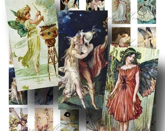 Fairy Digital Collage Sheet ON SALE!!! Digital Download Vintage Fairies Domino #2 INSTANT Download