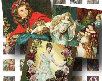 Vintage Fairy Tale Digital Collage Sheet SALE! Snow White Red Riding Hood Sleeping Beauty Digital Download Scrabble Size #1 INSTANT Download