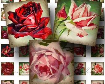 SALE!!!Roses Digital Collage Sheet - Digital Download - Aged Vintage 1 Inch Square (1) -  - Printable INSTANT Download