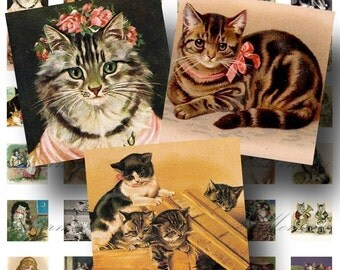 SALE!!!Victorian Cats 1 inch square(1) Digital Collage Sheet -  - Printable INSTANT Download