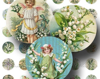 SALE!!!Lily of the Valley Digital Collage Sheet - Digital Download - Vintage 1 Inch Circles (1) -  - INSTANT Download