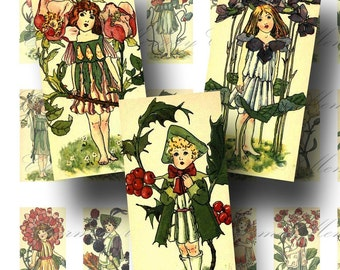 SALE!!!Victorian Flower Fairies  Domino(1) Digital Collage Sheet - 1 x 2 inch -  - Printable INSTANT Download