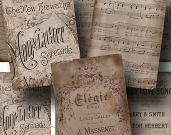 Vintage Music Ephemera ON SALE!!! Digital Collage Sheet - Aged & Stained Sheet Music Digital Download - Printable INSTANT Download