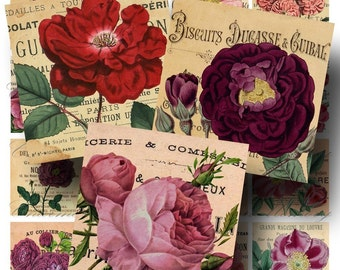 SALE!!!Rose Digital Collage Sheet - Digital Download - Vintage French Ephemera 2 Inch Square (2) -  - INSTANT Download