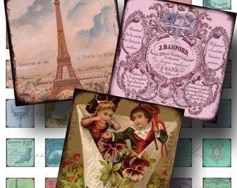 Paris Ephemera SALE!!! Digital Collage Sheet - Digital Download French, Ephemera, Eiffel Aged and Stained 1 Inch Square #4 INSTANT Download