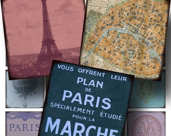 Paris Ephemera SALE!!! Digital Collage Sheet - Digital Download French, Ephemera, Eiffel Aged and Stained 2 Inch Square #2 INSTANT Download
