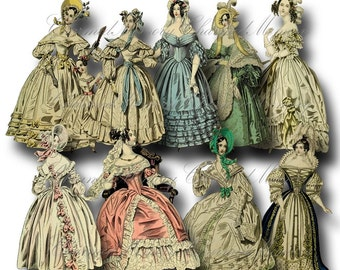 SALE!!! Paper Doll Digital Collage Sheet - Printable Digital Download - Regency Era Fashion Ladies in Gowns #4 png + jpeg INSTANT Download