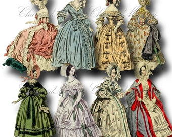SALE!!! Paper Doll Digital Collage Sheet / Printable Digital Download / Regency Era Fashion Ladies in Gowns #6 png + jpeg INSTANT Download
