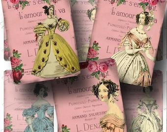 SALE!!! Regency Ladies Digital Collage Sheet - Digital Download - Aged Lamour ATC (1) -  - Printable INSTANT Download