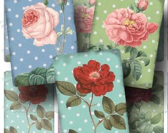 SALE!!!Roses & Polka Dots Digital Collage Sheet - Digital Download - Aged ATC (1) -  - Printable INSTANT Download