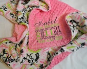 """Minky Blanket - Personalized baby blanket -Hot pink minky dot with paisley lime print minky - 30x36"""""""