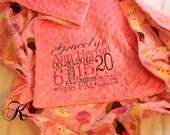 """Minky Blanket - Personalized baby blanket -Pink minky dot with cotton pink cupcake- 30x36"""""""