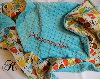 Owl Minky Blanket - Personalized baby blanket - Turquoise minky dot/cotton brown owl print