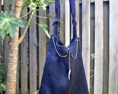 OC black tote bag with vintage beads and silk scarf-SAMPLE SALE.