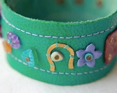 Wish Horse Fantasy Jewelled Leather Cuff Bracelet