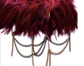 Burgundy feather shoulder epaulette and necklace with gold and brass chain and silk trim