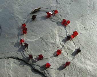siam red floating necklace with swarovski crystals