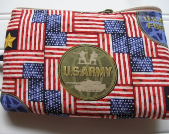 patriotic armed forces flag and gold star padded pouch or makeup jewelry bag