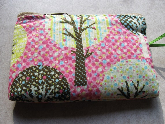 padded makeup jewelry bag in cheerful recycle  tree print