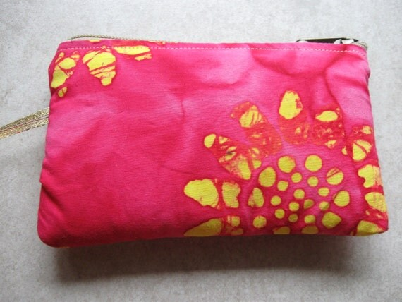pink sunflower batik padded makeup jewelry bag