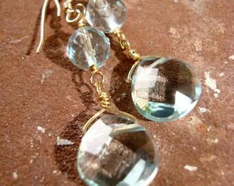 The Elegant Faceted Blue Quartz on Gold Dangle Earrings