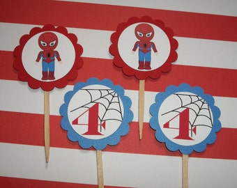 Spiderman cupcake toppers set of 12