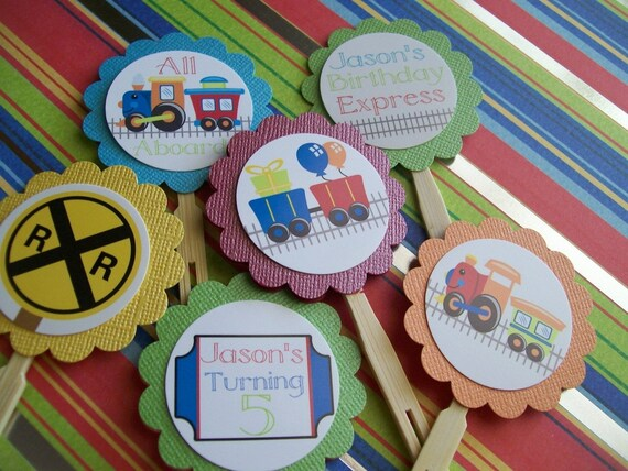 Train cupcake toppers set of 12