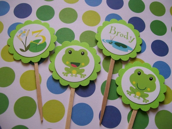 Frog cupcake toppers set of 12