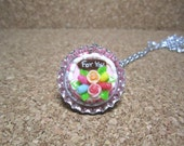 Let's Have a Tea Party - Dollhouse Miniature Polymer Clay Cake on Bottle Cap Necklace Gift Set - 134