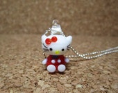 Red Hello Kitty Lampwork Glass Charm Pendant Necklace Gift Set - 269