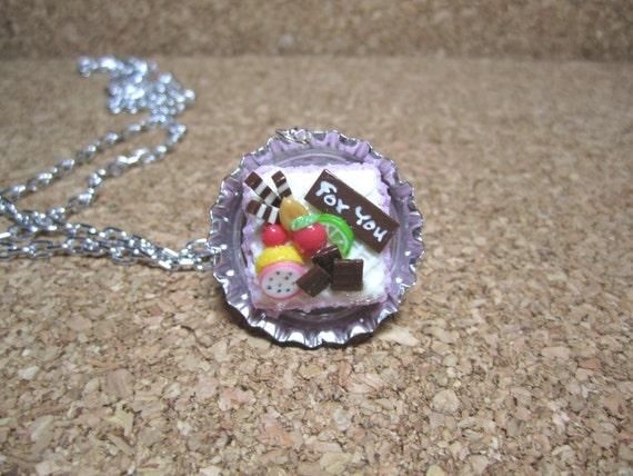 Let's Have a Tea Party - Dollhouse Miniature Polymer Clay Cake on Bottle Cap Necklace Gift Set - 150