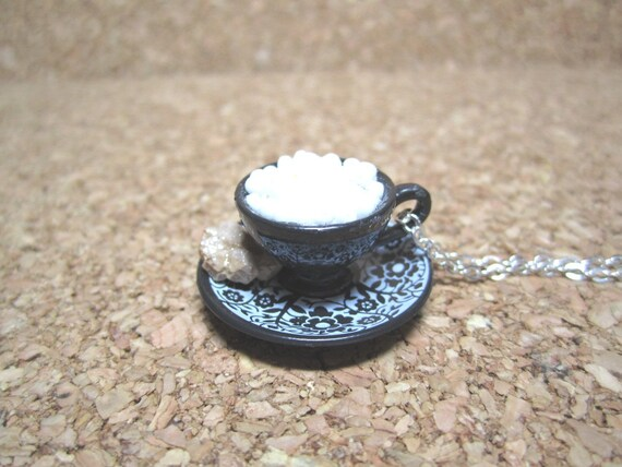 Let's Have a Tea Party - Dollhouse Miniature Black Blythe Fairy Gothic Teacup with White Seed Beads and Cookie Necklace Gift Set - 133