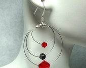 Earrings, Tri Loop, Swarovski, Red, Hematite, Black, Unique Jewelry by thecuriouscupcake on Etsy