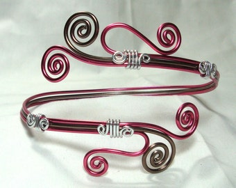 Arm Cuff, Antique Brass, Bright Pink & Silver Anodized Aluminum Wire