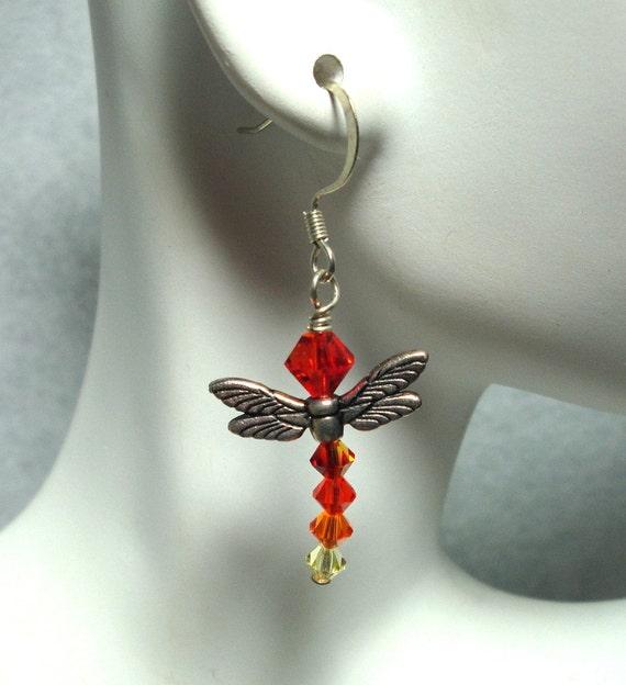 Earrings, Wings, Orange, Swarovski, Dragonfly, Firefly, Unique Jewelry by thecuriouscupcake on Etsy