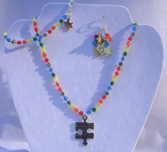 Three Piece Set, Necklace, Bracelet, Earrings, Rainbow, Puzzle Pieces, Autism Awareness, Unique Jewelry by thecuriouscupcake on Etsy