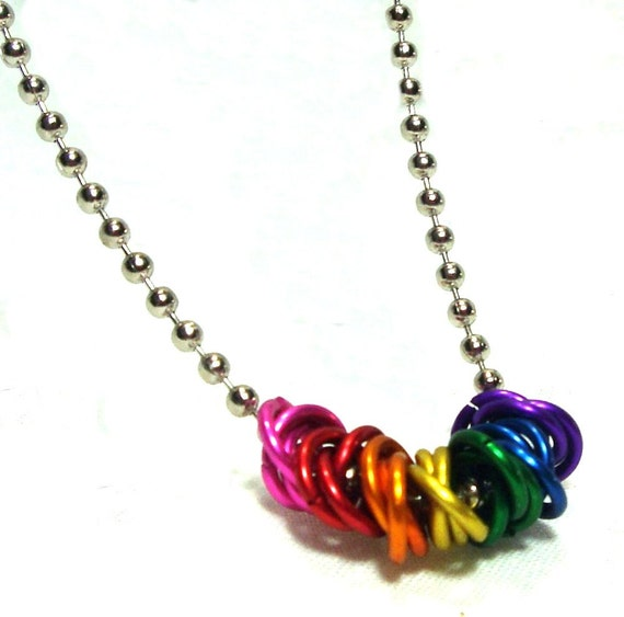 Chainmaille Jewellery, Chainmail Necklace, Mobius, Rainbow