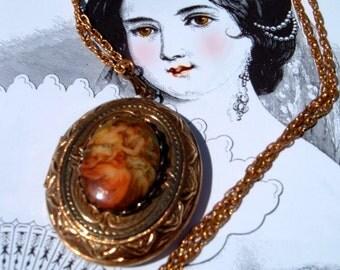 Baroque locket pendant vintage necklace, vintage locket