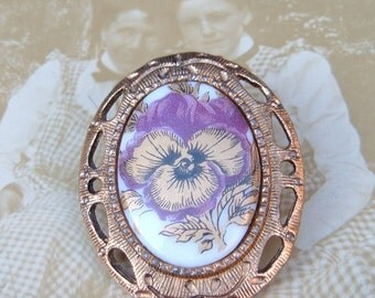 Purple Pansy Cameo Vintage Brooch